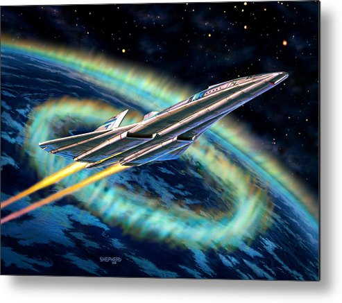 Space Metal Print featuring the painting Auroral Fire by Stu Shepherd