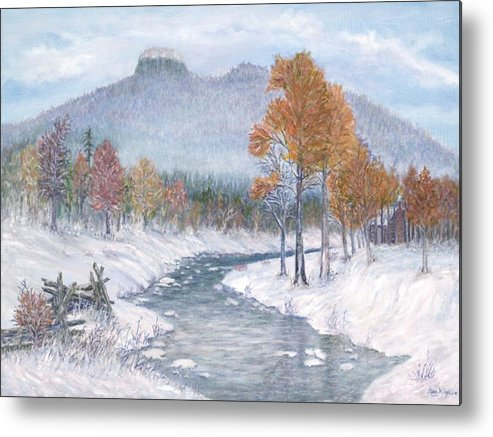 Snow Metal Print featuring the painting Autumn Snow by Ben Kiger
