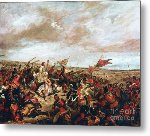 Poitiers Metal Print featuring the painting Battle of Poitiers on September 19, 1356 by Ferdinand Victor Eugene Delacroix