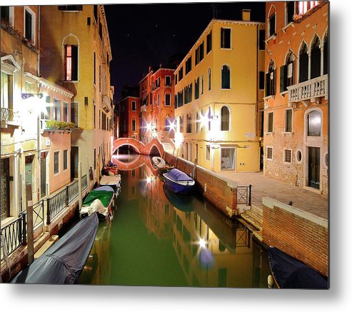 Outdoors Metal Print featuring the photograph Boats in canal by Bernd Schunack