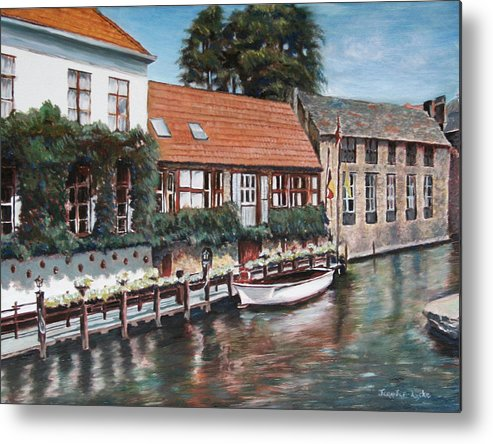 Belgium Metal Print featuring the painting Bruges Boat in Belgium by Jennifer Lycke