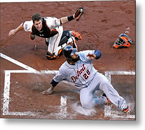 Game Two Metal Print featuring the photograph Buster Posey and Prince Fielder by Christian Petersen