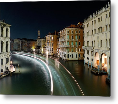Post Metal Print featuring the photograph Canal Grande at night by Bernd Schunack