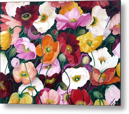 Flower Painting Floral Painting Poppy Painting Icelandic Poppies Painting Botanical Painting Original Oil Paintings Greeting Card Painting Metal Print featuring the painting Cascade Of Poppies by Karin Dawn Kelshall- Best