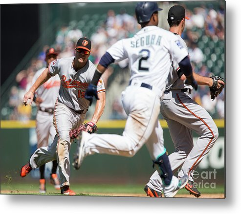 People Metal Print featuring the photograph Chris Davis and Jean Segura by Lindsey Wasson