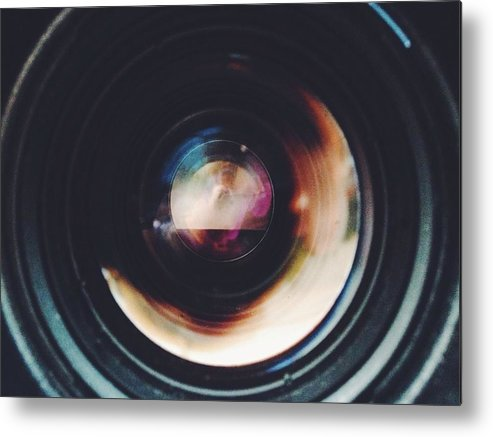 Looking Through An Object Metal Print featuring the photograph Close-Up Of Camera Lens by Sinan Saglam / EyeEm