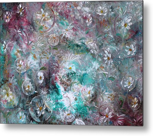Original Flower Abstract Painting Metal Print featuring the painting Daisy Dreamz by Karin Dawn Kelshall- Best