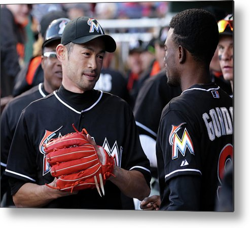 People Metal Print featuring the photograph Dee Gordon and Ichiro Suzuki by Adam Hunger