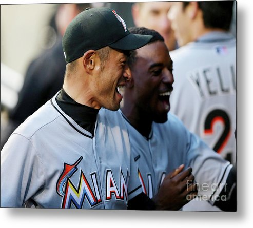 American League Baseball Metal Print featuring the photograph Dee Gordon, Ichiro Suzuki, and Giancarlo Stanton by Elsa
