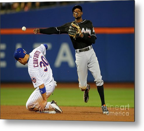 Double Play Metal Print featuring the photograph Dee Gordon, Michael Conforto, and James Loney by Rich Schultz