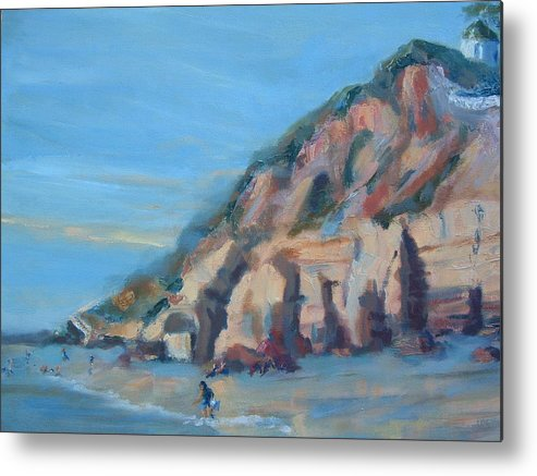 Seascape Metal Print featuring the painting Dog Beach   Del Mar Ca by Bryan Alexander