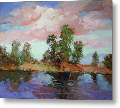 Plein Air Paintings Metal Print featuring the painting End of the Cottonwoods by Betty Jean Billups