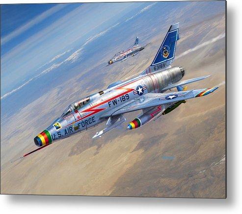 F-100 Metal Print featuring the digital art F-100D Sharpening the Sabre by Stu Shepherd
