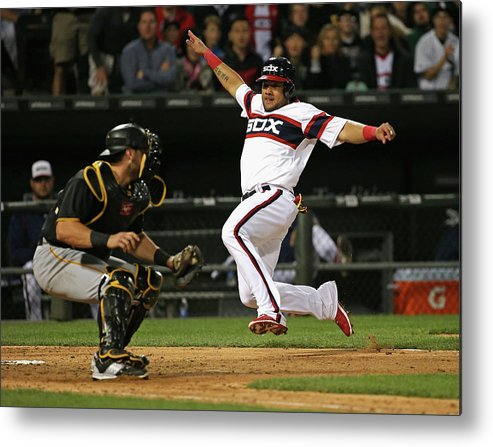 American League Baseball Metal Print featuring the photograph Francisco Cervelli and Melky Cabrera by Jonathan Daniel