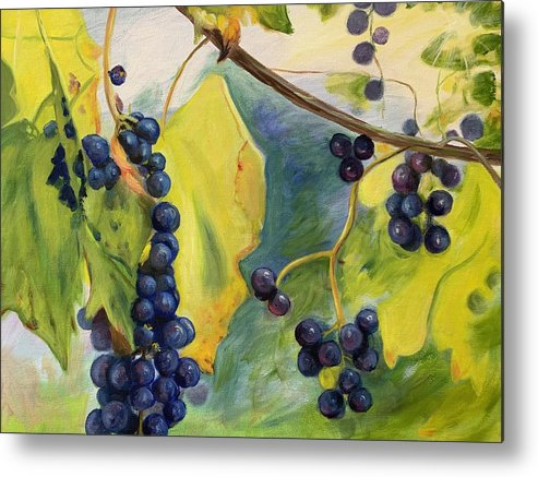 Wine Metal Print featuring the painting Grapes On The Vine by Anne Kushnick