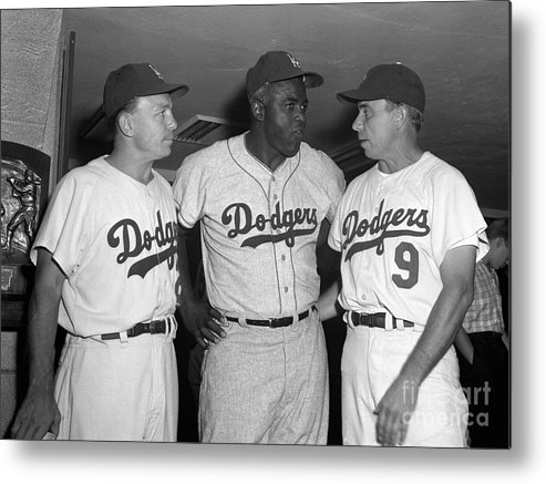 Jackie Robinson Metal Print featuring the photograph Jackie Robinson and Pee Wee Reese by Olen Collection