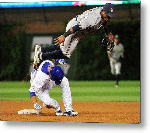 People Metal Print featuring the photograph Jean Segura and Kyle Schwarber by David Banks