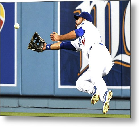 Second Inning Metal Print featuring the photograph Joe Panik and Andre Ethier by Harry How