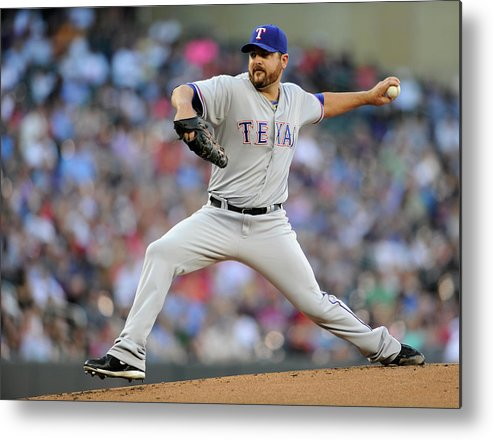 American League Baseball Metal Print featuring the photograph Joe Saunders by Hannah Foslien