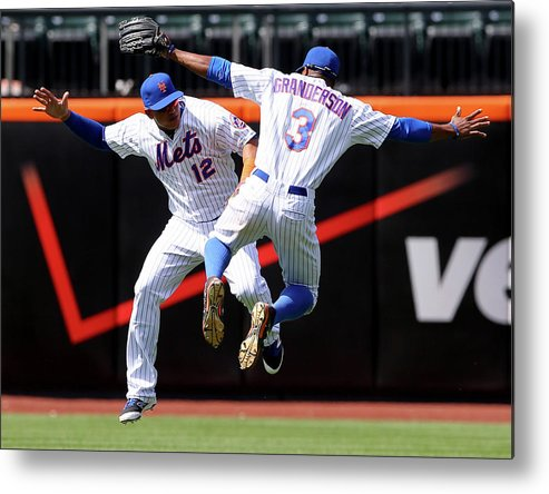 People Metal Print featuring the photograph Juan Lagares and Curtis Granderson by Elsa