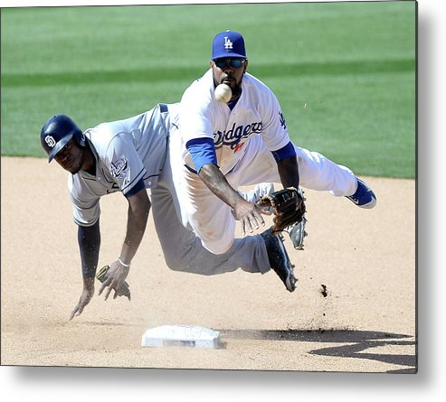 Double Play Metal Print featuring the photograph Justin Upton and Howie Kendrick by Harry How