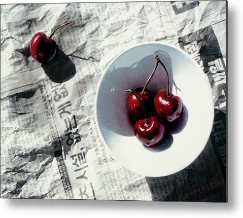 Cherries Metal Print featuring the painting Korean Cherries by Dianna Ponting