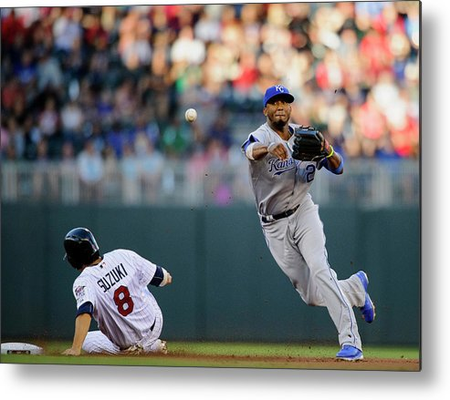 Double Play Metal Print featuring the photograph Kurt Suzuki and Alcides Escobar by Hannah Foslien