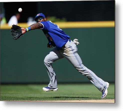 American League Baseball Metal Print featuring the photograph Kyle Seager and Jose Reyes by Otto Greule Jr