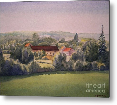 Watercolor Metal Print featuring the painting Landscape In Normandie Perche by Christian Simonian