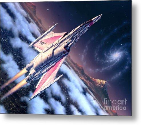 Spaceship Metal Print featuring the digital art Launch At Dawn by Stu Shepherd