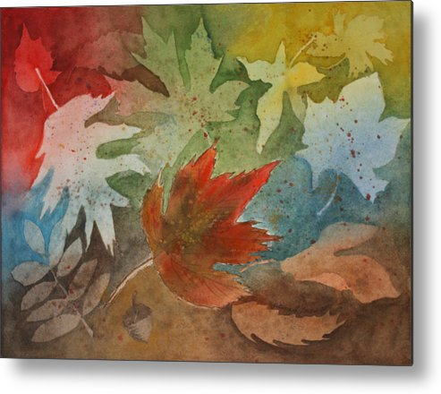 Leaves Metal Print featuring the painting Leaves II by Patricia Novack