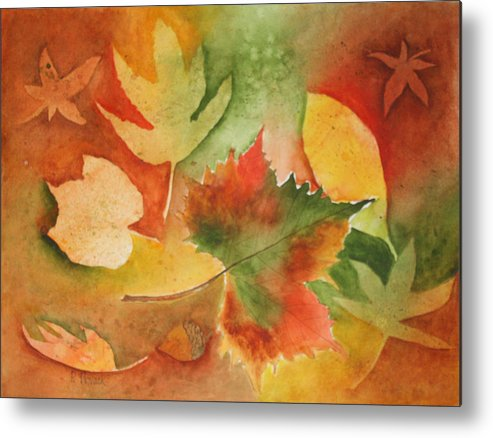 Leaves Metal Print featuring the painting Leaves III by Patricia Novack