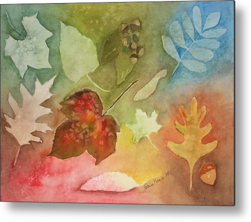Leaves Metal Print featuring the painting Leaves V by Patricia Novack