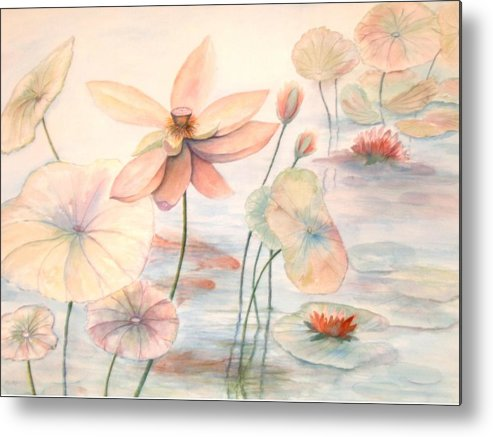 Lily Pads And Lotus Blossoms Metal Print featuring the painting Lily Pads by Ben Kiger