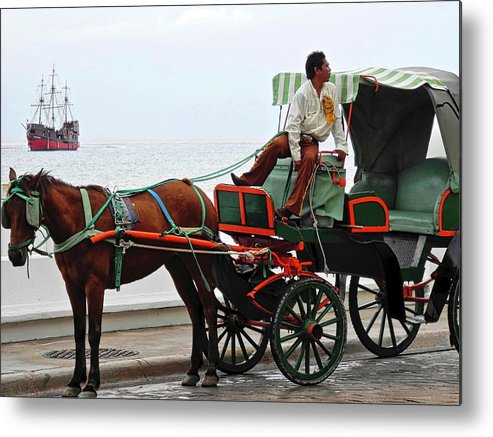 Horse Metal Print featuring the photograph Lovely Transportation in Cozumel by Kirsten Giving