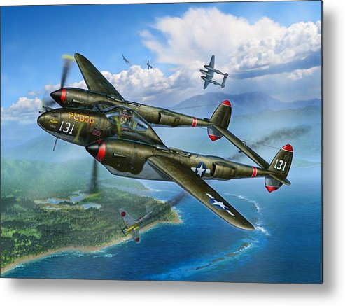 P-38 Metal Print featuring the painting McGuires Pudgy by Stu Shepherd