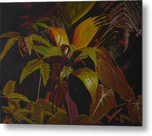 Plant Metal Print featuring the painting Midnight in the garden by Thu Nguyen
