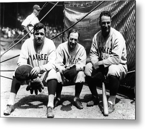American League Baseball Metal Print featuring the photograph Miller Huggins, Lou Gehrig, and Babe Ruth by Transcendental Graphics