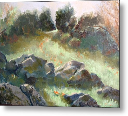 Landscape Metal Print featuring the painting Paradise on the road to Rancho Guejito by Bryan Alexander