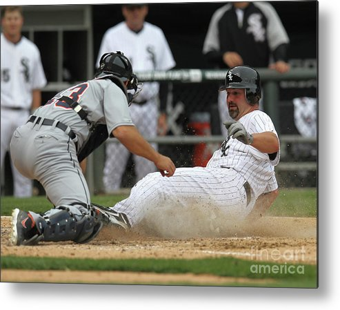 American League Baseball Metal Print featuring the photograph Paul Konerko and Alex Avila by Jonathan Daniel