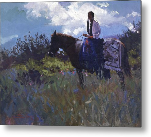 Horse Paintings Metal Print featuring the painting Peacefully Alone by Betty Jean Billups