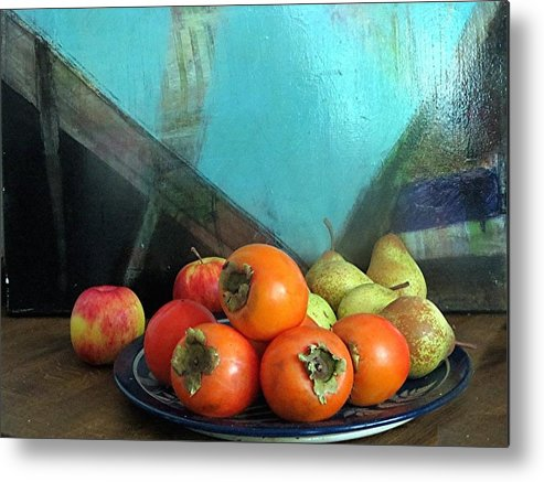Persimmons Metal Print featuring the photograph Persimmons II by Barron Holland