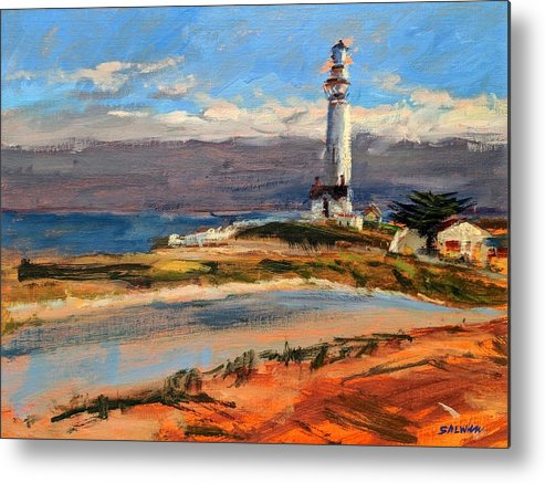 California Metal Print featuring the painting Pigeon Point Lighthouse by Peter Salwen