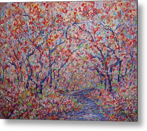Landscape Metal Print featuring the painting Poetic Forest. by Leonard Holland