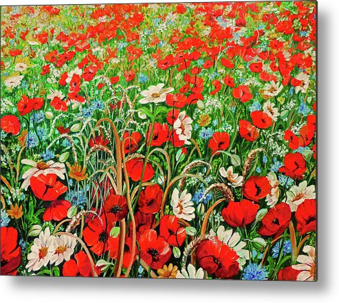 Floral Painting Flower Painting Red Poppies Painting Daisy Painting Field Poppies Painting Field Poppies Floral Flowers Wild Botanical Painting Red Painting Greeting Card Painting Metal Print featuring the painting Poppies In The Wild by Karin Dawn Kelshall- Best