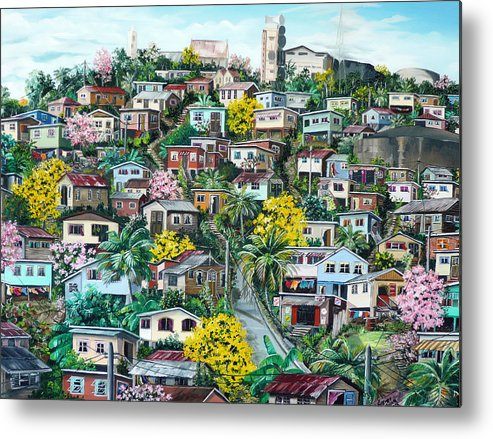 Landscape Painting Cityscape Painting Original Oil Painting  Blossoming Poui Tree Painting Lavantille Hill Trinidad And Tobago Painting Caribbean Painting Tropical Painting Metal Print featuring the painting Poui On The Hill by Karin Dawn Kelshall- Best