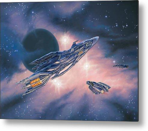 Space Metal Print featuring the painting Rendezvous At Ominia Mekos by Stu Shepherd