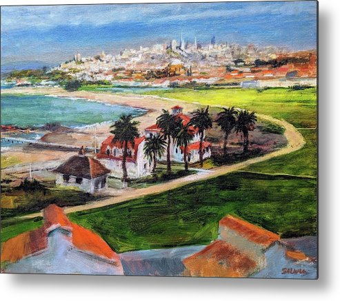 California Metal Print featuring the painting San Francisco From Crissy Field Overlook by Peter Salwen