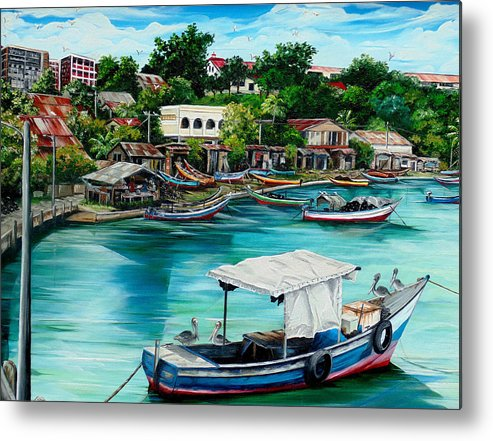 Ocean Painting Sea Scape Painting Fishing Boat Painting Fishing Village Painting Sanfernando Trinidad Painting Boats Painting Caribbean Painting Original Oil Painting Of The Main Southern Town In Trinidad  Artist Pob Metal Print featuring the painting Sanfernando Wharf by Karin Dawn Kelshall- Best