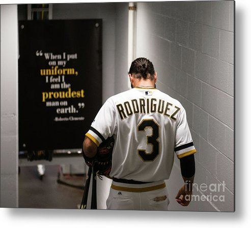 Sean Rodriguez Metal Print featuring the photograph Sean Rodriguez and Roberto Clemente by Justin Berl